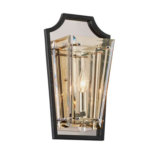 Domain Hand-Worked Iron with Polished Chrome Detail 9-Inch One-Light Wall Sconce with Plated Topaz Glass