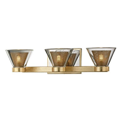 Troy Wink Gold Leaf with Polished Chrome Accents Three-Light LED Bath Vanity