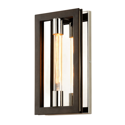 Enigma Bronze and Polished Stainless One-Light Wall Sconce