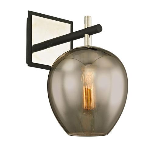 Iliad Carbide Black and Polished Nickel One-Light Wall Sconce with Plated Smoke Glass