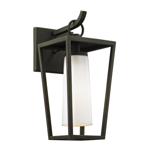 Mission Beach Textured Black Small One-Light Outdoor Wall Sconce with Opal White Glass