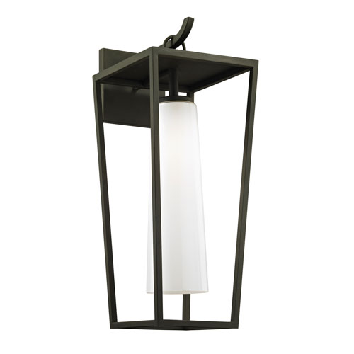 Mission Beach Textured Black Large One-Light Outdoor Wall Sconce with Opal White Glass