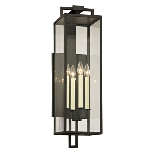 Beckham Forged Iron Four-Light Outdoor Wall Sconce with Dark Bronze