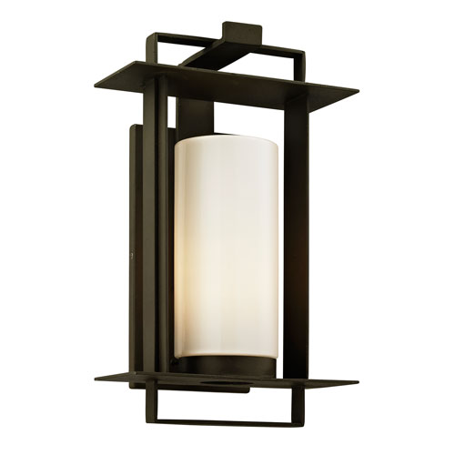 Troy Kendrick Bronze Small One-Light Outdoor Wall Sconce with Opal White Glass