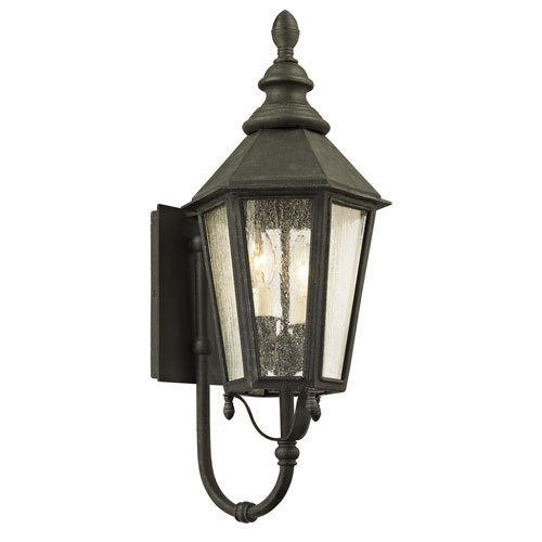 Troy Savannah Vintage Iron Two-Light Outdoor Wall Sconce with Clear Seeded Glass