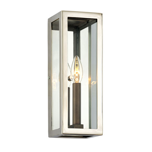 Morgan Bronze with Polished Stainless Small One-Light Outdoor Wall Sconce with Dark Bronze