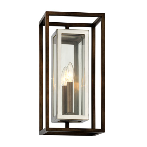 Morgan Bronze with Polished Stainless Medium One-Light Outdoor Wall Sconce with Dark Bronze