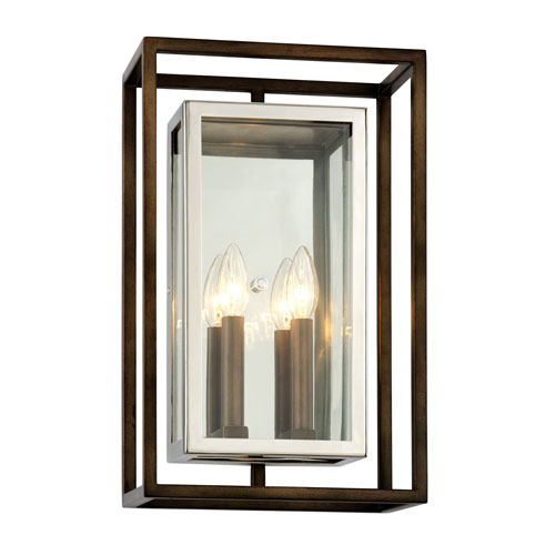 Morgan Bronze with Polished Stainless Large Two-Light Outdoor Wall Sconce with Dark Bronze