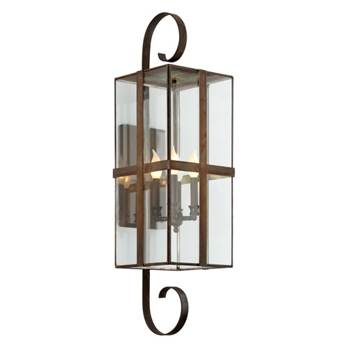Troy Rutherford Heirloom Brass Four-Light Outdoor Wall Sconce with Dark Bronze
