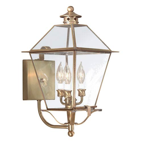 Troy Montgomery Natural Aged Brass Three-Light Outdoor Wall Mount