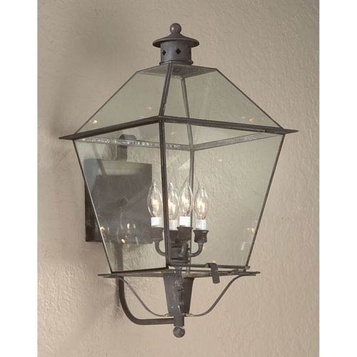 Troy Natural Aged Brass Montgomery X-Large Four-Light Wall Mount Glass Top Lantern
