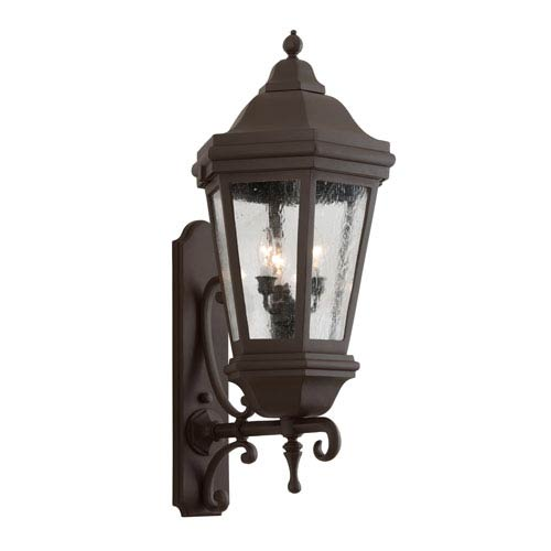 Troy Bronze Patina Three-Light Wall Mount Lantern with Clear Seeded Glass
