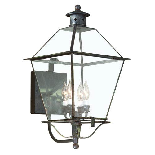 Montgomery Charred Iron Four-Light Wall Mount Glass Top Lantern with Clear Seeded Glass