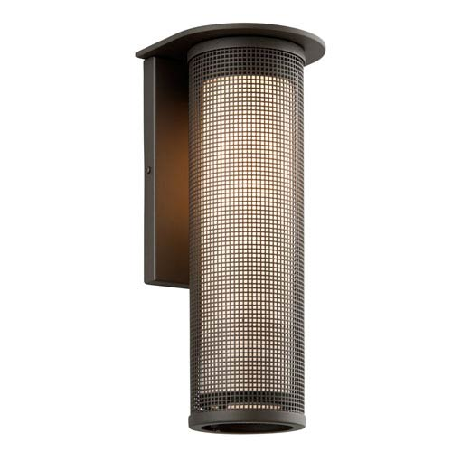Troy Hive Bronze One-Light Fluorescent Large Wall Sconce w/ Coastal Finish and Opal White Glass