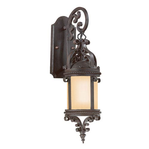 Troy Old Bronze Pamplona Medium One-Light Fluorescent Wall Mount Hanging Lantern with Amber Mist Glass