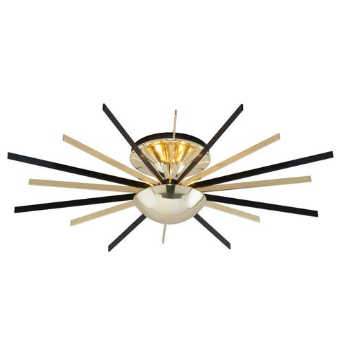 Troy Atomic Polished Brass and Matte Black LED Small Semi-Flush Mount