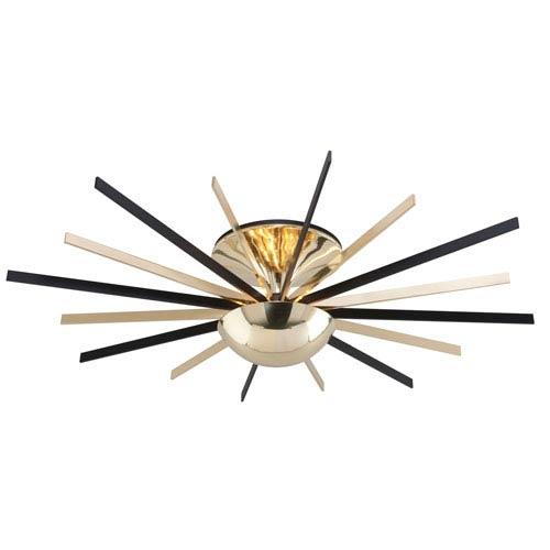 Atomic Polished Brass and Matte Black LED Large Semi-Flush Mount