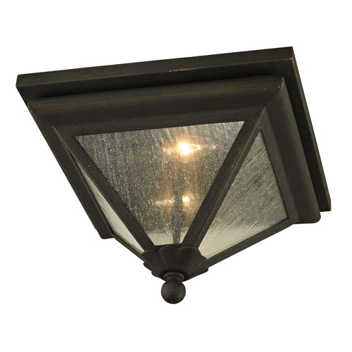 Geneva Vintage Bronze Two-Light Outdoor Flush Mount with Clear Seeded Glass