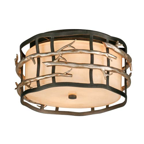 Troy Graphite and Silver Adirondack Two-Light Fluorescent Ceiling Flush Mount