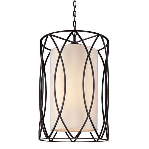 Troy Sausalito Deep Bronze Eight-Light Pendant with Linen Shade