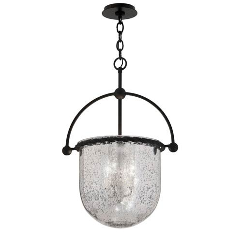Mercury Old Iron Three-Light 13.5-Inch Pendant with Antique Silver Glass