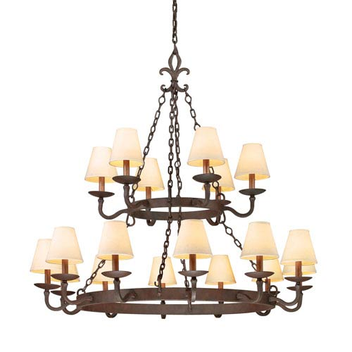 Burnt Sienna Lyon Two Tier 18-Light Chandelier