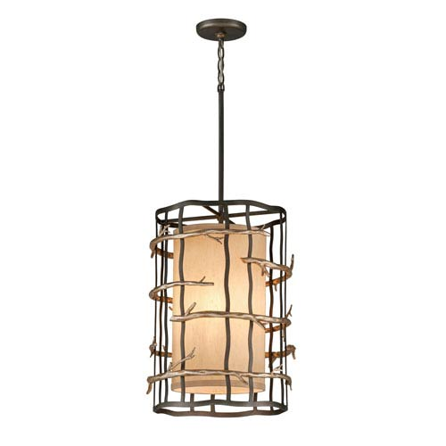 Troy Graphite and Silver Adirondack Three-Light Entry Pendant