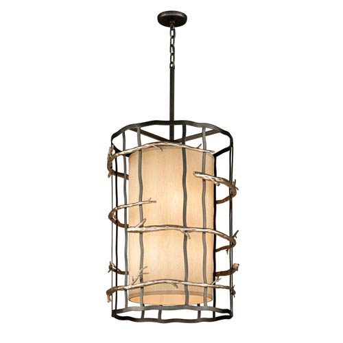 Troy Graphite and Silver Adirondack Large Six-Light Entry Pendant
