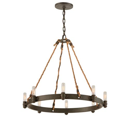 Troy Shipyard Bronze Pike Place Eight-Light Chandelier