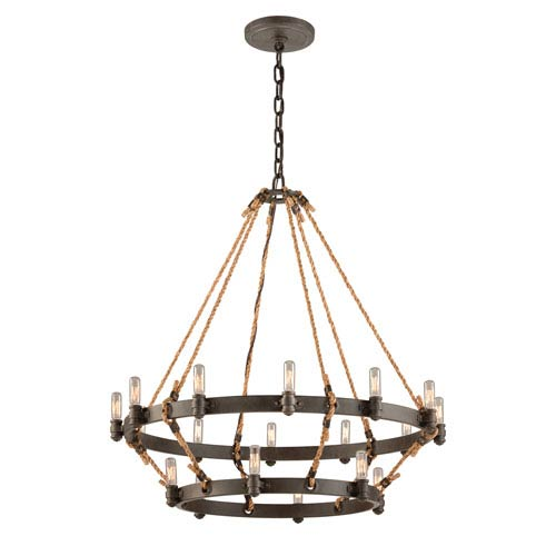 Shipyard Bronze Pike Place 18-Light Two Tier Chandelier