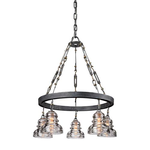 Old Silver Menlo Park Five-Light Chandelier