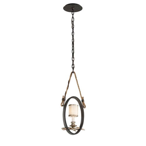Troy Drift Bronze With Silver Leaf One-Light Mini Pendant with White Pearl Glass