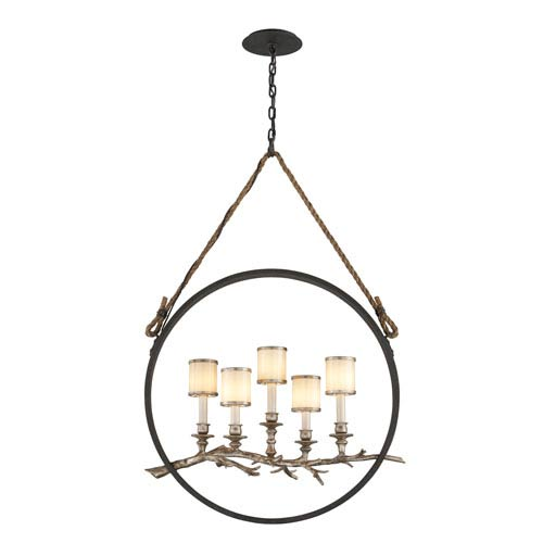 Troy Drift Bronze With Silver Leaf Five-Light Medium Linear Pendant with White Pearl Glass