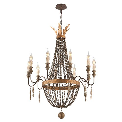 French Bronze with Aged Wood 10 Light Medium Chandelier