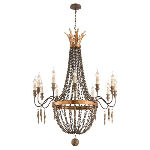 French Bronze with Aged Wood 12 Light Large Chandelier