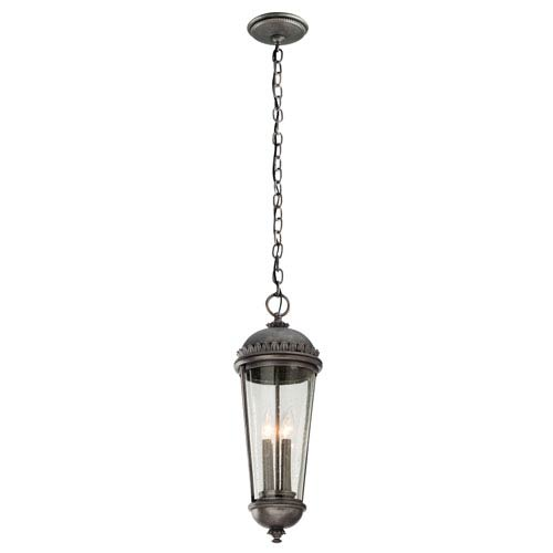 Ambassador Aged Pewter Four-Light Medium Pendant with Clear Seeded Glass