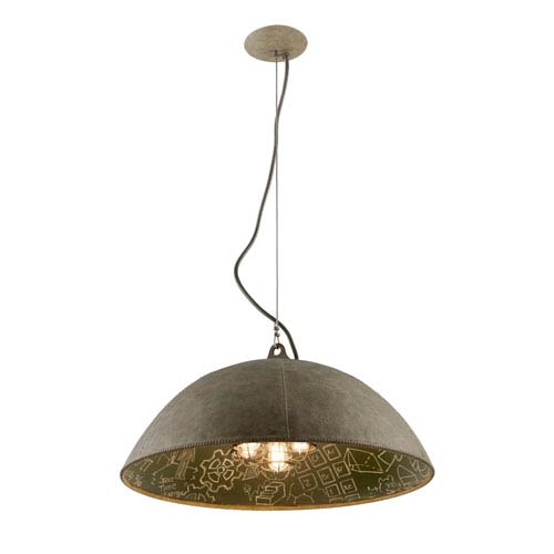 Troy Relativity Salvage Zinc Five-Light Extra Large Pendant with Chalkboard Interior