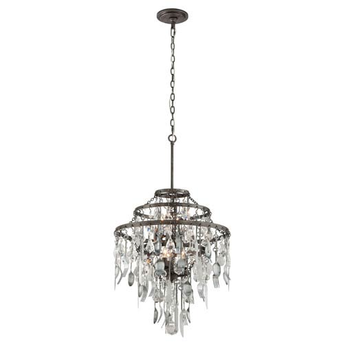 Troy Bistro Graphite Six Light Chandelier with Crystal Glass