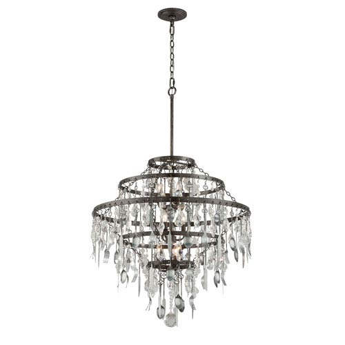 Troy Bistro Graphite Nine Light Large Chandelier with Crystal Glass