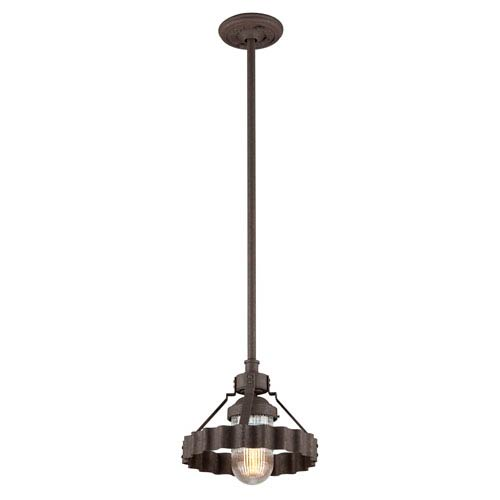 Troy Canary Wharf Burnt Sienna One-Light Outdoor Pendant with Pressed Glass