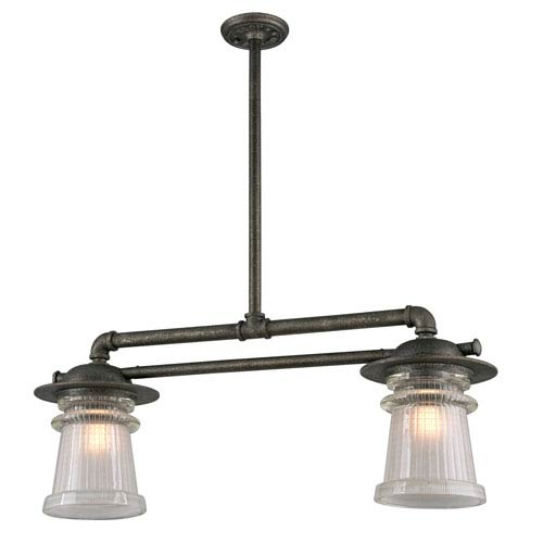 Pearl Street Charred Zinc Two-Light Forty-Inch Outdoor Pendant