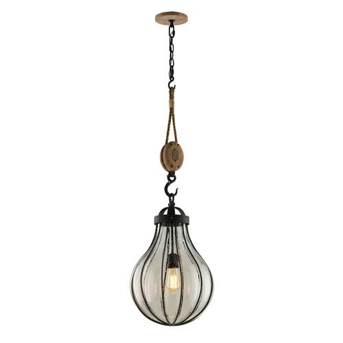 Troy Murphy Vintage Iron 13.5-Inch One-Light Pendant with Hand-Blown Glass