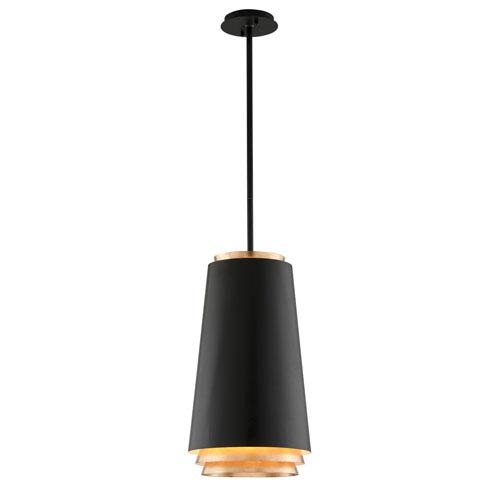 Troy Fahrenheit Textured Black with Gold Leaf Accents 12-Inch LED Pendant with Textured Black with Gold Leaf Accents