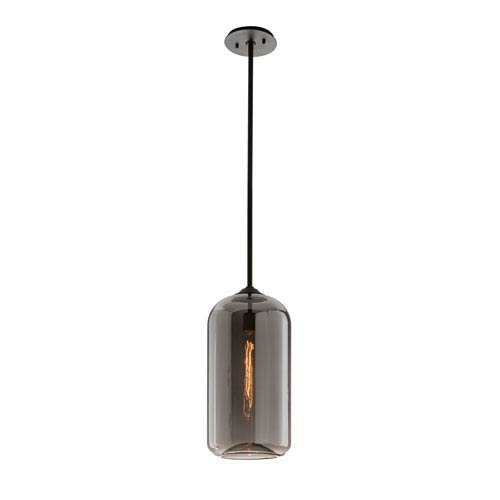District Satin Black 10-Inch One-Light Mini Pendant with Plated Smoke Glass