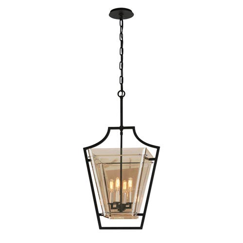 Troy Domain Hand-Worked Iron with Polished Chrome Detail 17-Inch Four-Light Pendant with Plated Topaz Glass