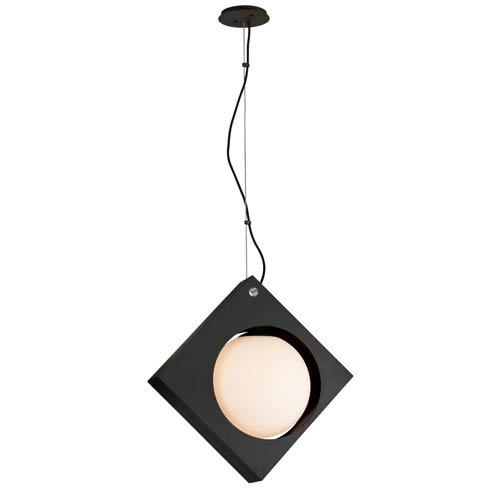 Troy Conundrum Textured Black 23-Inch LED Pendant with Frosted White Glass