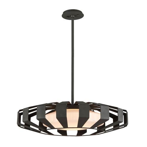 Troy Impulse Textured Bronze 26-Inch LED Pendant with Opal White Glass
