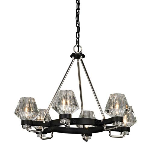 Faction Forged Iron and Polished Nickel Six-Light Chandelier