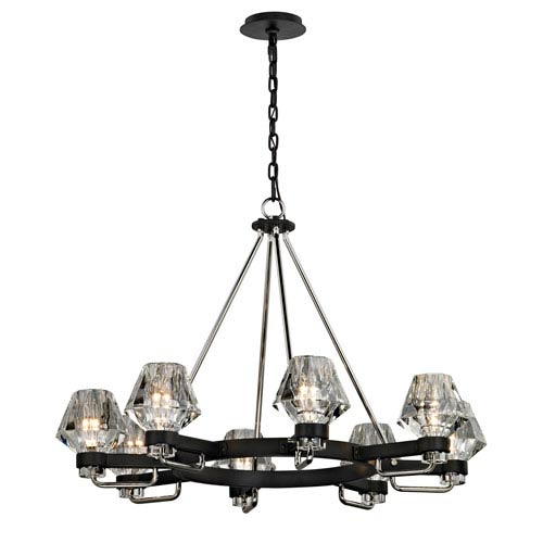Faction Forged Iron and Polished Nickel Eight-Light Chandelier