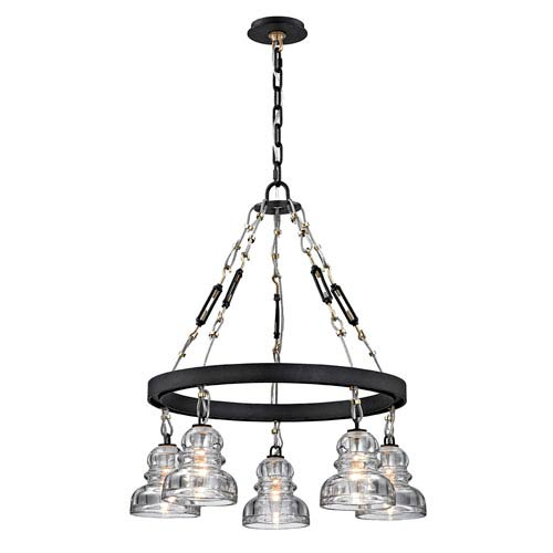 Troy Menlo Park Deep Bronze Five-Light Chandelier